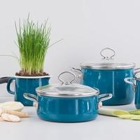 Garnki i patelnia błękitne, emalia porcelanowa riess aquamarin 5-części r-0558-010