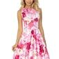 Sukienka w róże rozkloszowana bez rękawów z dekoltem w łódkę
