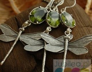 Piękne ważki - srebrny komplet z oliwinem