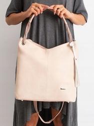 Torebka damska shopper bag worek 0006 różowa - różowy pudrowy
