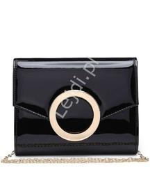 Czarna lakierowana torebka kopertówka
