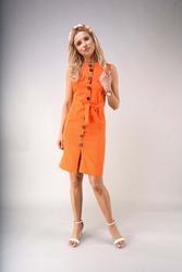 Letnia sukienka w stylu safari - pomarańczowa