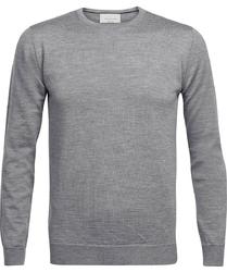 Sweter  pulower O-neck z wełny z merynosów szary melanż M