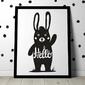 Hello królik - plakat dla dzieci , wymiary - 20cm x 30cm, kolor ramki - biały