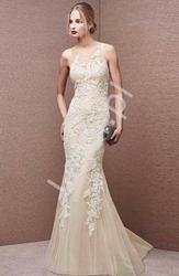 Wieczorowa luksusowa suknia z ręcznie wszywaną gipiurą - demi 002 szampańska