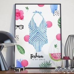Plakat w ramie - fashion is my drug , wymiary - 50cm x 70cm, ramka - czarna