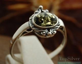 Lunga - srebrny pierścionek z bursztynem
