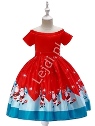 Świąteczna sukienka dla dziewczynki czerwona z św. mikołajami 40f