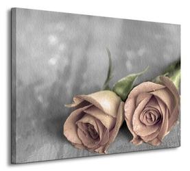 Samotne róże bw - obraz na płótnie