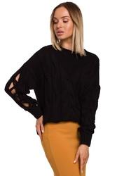 Czarny sweter z rozcięciem na rękawach