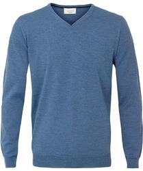 Sweter  pulower v-neck z wełny z merynosów niebieski xxxl
