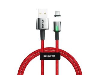 Kabel magnetyczny baseus zinc usb-c type c 1m 3a red - czerwony
