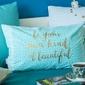 Poszewka na poduszkę dekoracyjna altom design, ibiza, dekoracja złote napisy 30 x 50 cm