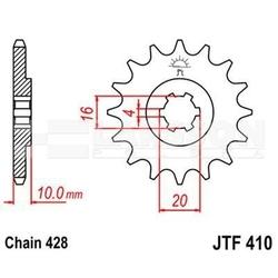 Zębatka przednia jt f410-13, 13z, rozmiar 428 2200822 suzuki tu 125