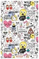 Emoji emotikony millennials - plakat