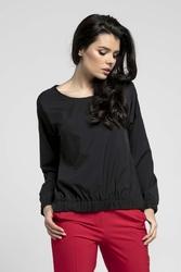 Czarna Oversizowa Asymetryczna Bluzka z Gumkami