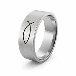 Obrączka srebrna ze znakiem Ichthys Chrystusa - wzór Ag-386
