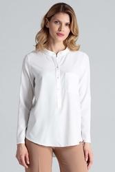 Ecru bluzka koszulowa w liście ze stójką