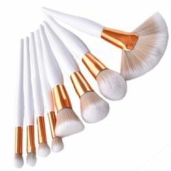 Zestaw pędzli do makijażu White Performance, włókno syntetyczne 8 sztuk