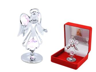Anioł Stróż Swarovski Pamiątka Chrzest Dedykacja