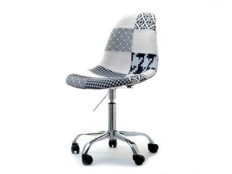 Krzesło obrotowe tunis biało-czarny patchwork