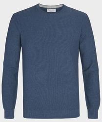Niebieski sweter  pulower o-neck z bawełny  s