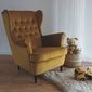 Fotel uszak flick aksamit musztardowy nowoczesny