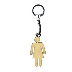 Drewniany brelok do kluczy - kobieta - KOB