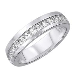 Staviori obrączka. 15 diamentów, szlif princessa, masa 0,38 ct., barwa h, czystość si2. białe złoto 0,585. szerokość 4,2 mm. grubość 1,5 mm.  dostępne inne kolory złota.
