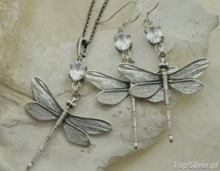 Ważki - srebrny komplet z kryształem z cyrkoniami