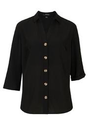 Bluzka z krepy z dekoltem w serek, rękawami 34 z możliwością wywinięcia bonprix czarny