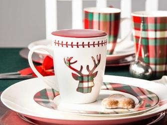 Kubek porcelanowy świąteczny z zaparzaczem i pokrywką święta boże narodzenie altom design victoria red 300 ml