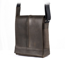 Skórzana torba na ramię raportówka brødrene ml17 ciemny brąz
