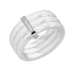 Potrójny pierścionek ceramiczny biały ze srebrnym pr. 925 elementem - prostokąt z cyrkoniami