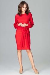 Czerwona elegancka sukienka z transparentnymi rękawami
