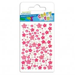 Kryształki samoprzylepne mix kwiatkikółka różowy - różowy