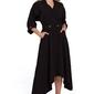 Czarna asymetryczna rozkloszowana sukienka z kopertowym dekoltem