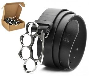 Pasek skórzany stylion w pudełku kastet - czarny st40-kl-3
