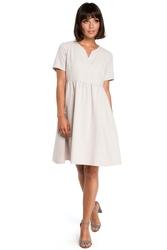 Beżowa rozkloszowana sukienka mini odcinana pod biustem