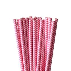 Słomki papierowe różowo-białe zygzak