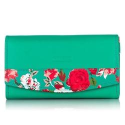 Duży damski skórzany portfel w kwiaty zielony
