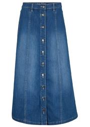 Spódnica dżinsowa quot;komfort-stretchquot;, dł. midi bonprix niebieski
