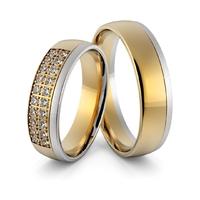 Obrączki ślubne dwukolorowe z brylantami - au-962