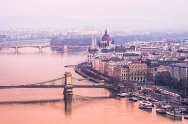 Budapeszt parlament - plakat premium wymiar do wyboru: 29,7x21 cm