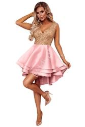 Krótka różowa sukienka z złotymi cekinami 591
