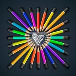 Fototapeta kolorowe kredki, kształt serca, wektor eps10.