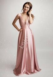 Długa suknia wieczorowa o metalicznym różowym połysku 2180