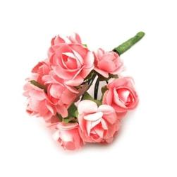 Papierowy róże 12 szt - różowe - róż