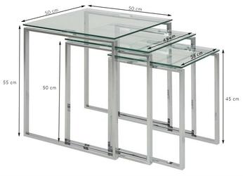 Zestaw szklanych stolików ines