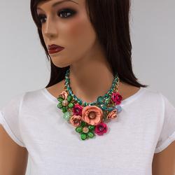 Naszyjnik flowers XL coral - CORAL